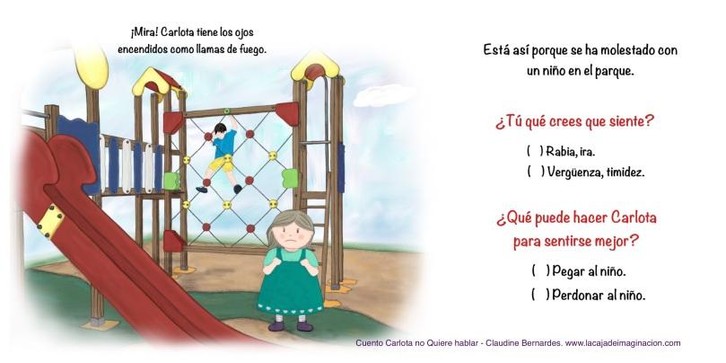 cuento infantil ilustrado Carlota no quiere hablar, cuentoterapia, interactivo