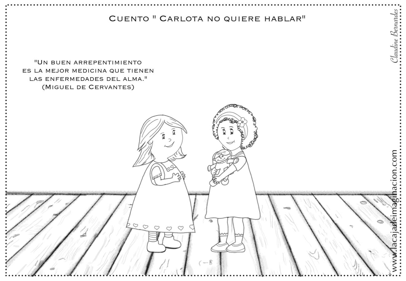 Colorear Carlota no quiere hablar 3 compartir –