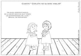 Colorear Carlota no quiere hablar 3 compartir