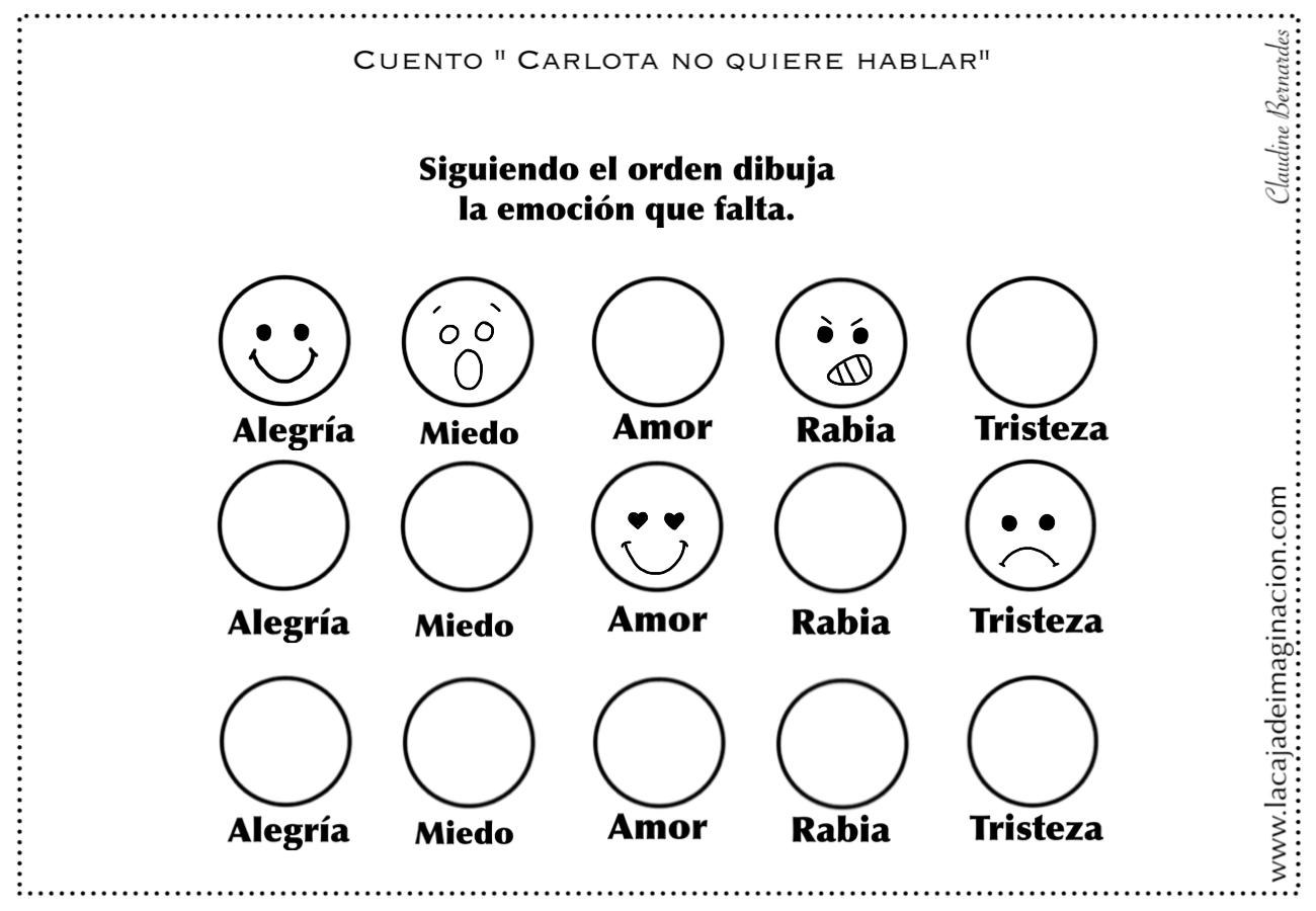 Colorear Carlota no quiere hablar 7 dibujar emociones –