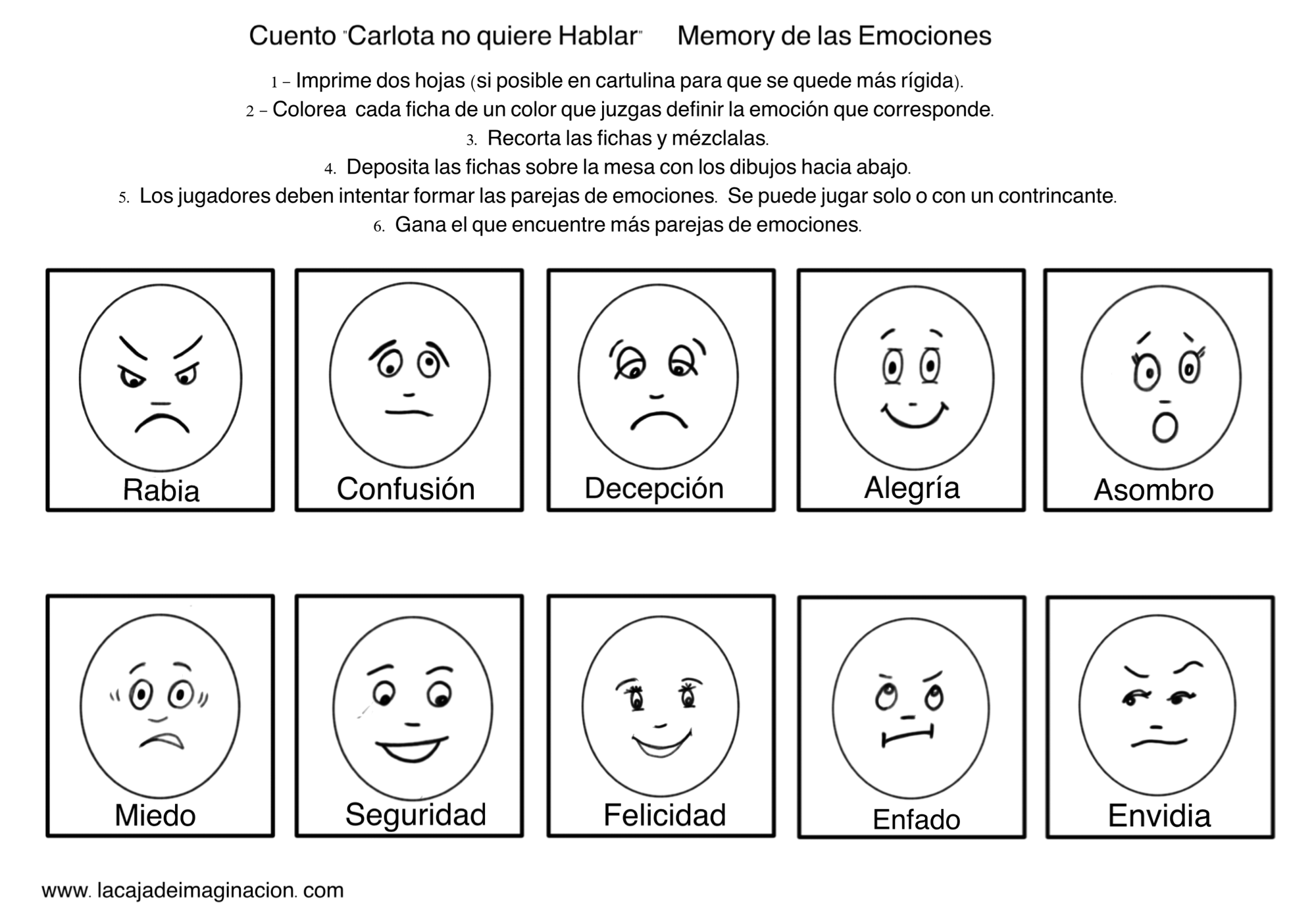 Juego Carlota no quiere hablar memory emociones