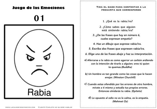 Juego de las emociones 1 frases rabia